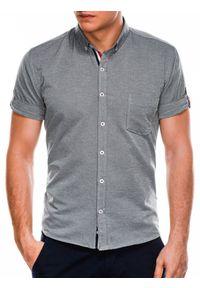 Szara koszula Ombre Clothing krótka, z krótkim rękawem, button down