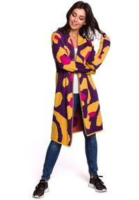 Sweter długi, w kolorowe wzory, z długim rękawem