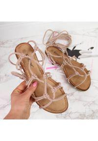 Sandały damskie sznurowane rzymianki beżowe Seastar. Kolor: beżowy. Materiał: materiał