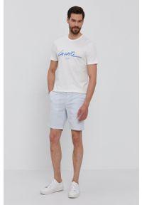 Lacoste - T-shirt. Okazja: na co dzień. Kolor: biały. Wzór: nadruk. Styl: casual