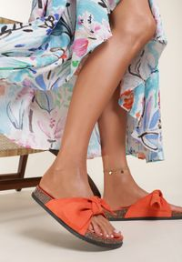 Renee - Pomarańczowe Klapki Aglalacia. Kolor: pomarańczowy