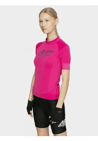 4f - Koszulka rowerowa damska. Kolor: różowy. Materiał: włókno, jersey, dzianina. Długość rękawa: raglanowy rękaw. Długość: długie. Sport: kolarstwo