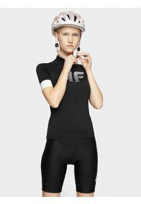 4f - Koszulka rowerowa damska. Kolor: czarny. Materiał: jersey, dzianina, włókno. Długość rękawa: raglanowy rękaw. Długość: długie. Sport: kolarstwo
