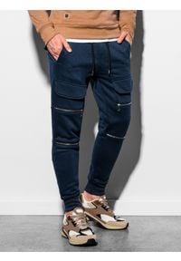 Ombre Clothing - Spodnie męskie dresowe joggery P901 - granatowe - XXL. Kolor: niebieski. Materiał: dresówka