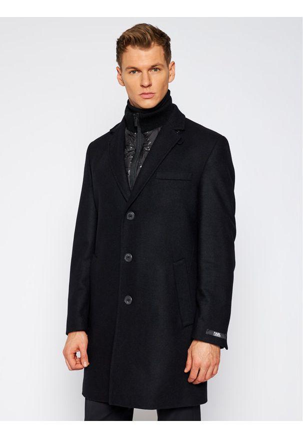 Czarny płaszcz przejściowy Karl Lagerfeld z dekoltem karo
