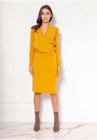 Lanti - Sukienka z Kopertowym Dekoltem - Musztardowa. Kolor: żółty. Materiał: wiskoza, akryl. Typ sukienki: kopertowe