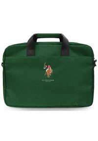 U.S. Polo - Torba na laptopa US POLO 15 cali Zielony. Kolor: zielony. Materiał: materiał. Wzór: haft