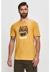 Żółty t-shirt Only & Sons na co dzień, casualowy, z nadrukiem