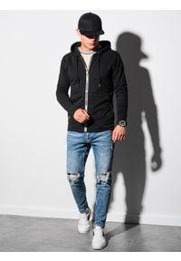 Ombre Clothing - Bluza męska rozpinana z kapturem B1152 - czarna - XXL. Typ kołnierza: kaptur. Kolor: czarny. Materiał: poliester, bawełna