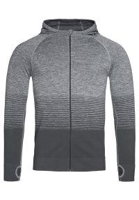 Szary sweter Stedman sportowy, raglanowy rękaw, z kapturem, długi