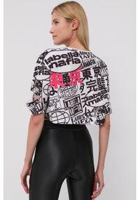 LABELLAMAFIA - LaBellaMafia - T-shirt. Kolor: biały. Materiał: dzianina