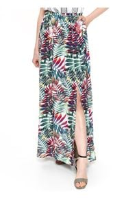 TOP SECRET - Długa spódnica z egzotycznym nadrukiem. Kolor: zielony. Materiał: tkanina. Długość: długie. Wzór: nadruk. Sezon: wiosna, lato