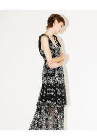 SELF PORTRAIT - Sukienka midi z cekinami. Okazja: na imprezę. Typ kołnierza: kokarda. Kolor: czarny. Wzór: kwiaty, aplikacja. Długość: midi