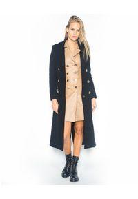 CRISTINAEFFE - Czarny dwurzędowy płaszcz. Kolor: czarny. Materiał: materiał. Wzór: aplikacja