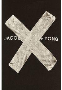 Czarna bluzka Jacqueline de Yong z nadrukiem, na co dzień