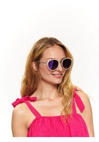 Beżowe okulary przeciwsłoneczne TOP SECRET w kolorowe wzory