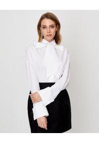 ALEXANDRE VAUTHIER - Biała koszula z wiązaniem. Kolor: biały. Materiał: jeans, materiał. Długość rękawa: długi rękaw. Długość: długie. Styl: klasyczny