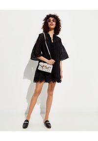 Czarna sukienka mini Pinko w ażurowe wzory, elegancka