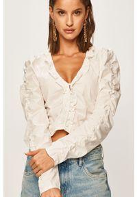 Biała bluzka Pepe Jeans na co dzień, gładkie, casualowa, długa