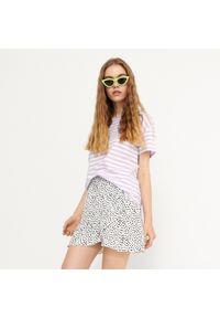 House - T-shirt w paski basic - Fioletowy. Kolor: fioletowy. Wzór: paski