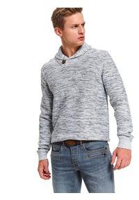 TOP SECRET - Sweter z szalowym kołnierzem. Kolor: szary. Materiał: materiał. Długość: długie. Sezon: zima