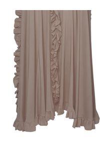 WILD MASCOT - Sukienka jedwabna z falbanami. Kolor: beżowy. Materiał: jedwab. Wzór: aplikacja. Typ sukienki: rozkloszowane. Długość: maxi