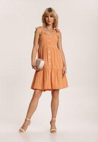 Renee - Pomarańczowa Sukienka Corirea. Kolor: pomarańczowy. Długość rękawa: na ramiączkach. Długość: mini