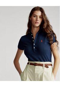 Ralph Lauren - RALPH LAUREN - Granatowa koszulka Polo Slim fit. Typ kołnierza: polo. Kolor: niebieski. Materiał: bawełna, materiał. Wzór: haft, aplikacja