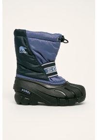 Niebieskie buty zimowe sorel z okrągłym noskiem, na zimę