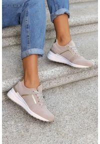 Filippo - Beżowe sneakersy filippo buty sportowe sznurowane skórzane dp2003/21be. Kolor: beżowy. Materiał: skóra