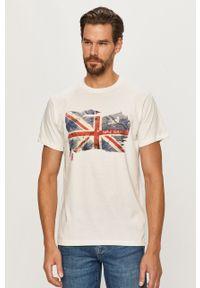 Biały t-shirt Pepe Jeans z okrągłym kołnierzem, z nadrukiem