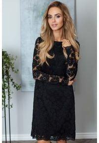 MOE - Czarna Wizytowa Trapezowa Sukienka z Koronki. Kolor: czarny. Materiał: koronka. Wzór: koronka. Typ sukienki: trapezowe. Styl: wizytowy