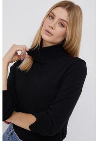 Sisley - Sweter z domieszką wełny. Okazja: na co dzień. Typ kołnierza: golf. Kolor: czarny. Materiał: wełna. Długość rękawa: długi rękaw. Długość: długie. Styl: casual