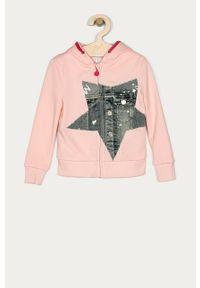 Różowa bluza rozpinana Desigual z kapturem, casualowa, na co dzień, z nadrukiem