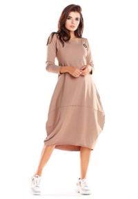 Infinite You - Beżowa Dzianinowa Sukienka Bombka z Długim Rękawem. Kolor: beżowy. Materiał: dzianina. Długość rękawa: długi rękaw. Typ sukienki: bombki