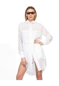 ROBERT KUPISZ - Biała koszula ORIENT HOOD. Okazja: na co dzień. Kolor: biały. Materiał: bawełna. Długość rękawa: długi rękaw. Długość: długie. Wzór: nadruk. Styl: casual