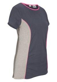 Shirt sportowy, krótki rękaw bonprix nocny niebieski - różowy neonowy. Kolor: szary. Długość rękawa: krótki rękaw. Długość: krótkie. Styl: sportowy #1