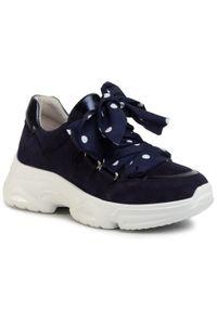 Niebieskie buty sportowe Gabor na płaskiej podeszwie, z cholewką