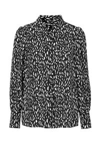 Cellbes Wzorzysta bluzka z bufkami Czarny we wzory female czarny/ze wzorem 46/48. Kolor: czarny. Materiał: tkanina, poliester. Długość rękawa: długi rękaw. Długość: długie. Styl: klasyczny