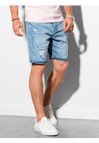 Ombre Clothing - Krótkie spodenki męskie jeansowe W311 - jasny jeans - XXL. Materiał: jeans. Długość: krótkie. Sezon: lato