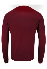 Czerwony sweter Adriano Guinari na co dzień, z dekoltem w serek, klasyczny