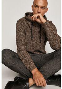 Brązowy sweter medicine na co dzień, melanż, z kapturem, casualowy