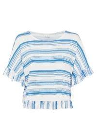 Shirt oversize bonprix niebieski morski - biały w paski. Kolor: niebieski. Wzór: paski