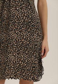 Renee - Czarna Koszula Nocna Orphelphise. Kolor: czarny. Wzór: motyw zwierzęcy, aplikacja