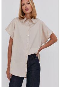 Answear Lab - Koszula. Kolor: beżowy. Materiał: tkanina. Długość rękawa: krótki rękaw. Długość: krótkie. Styl: wakacyjny