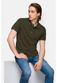 Lancerto - Koszulka Ciemnozielona Polo Patrick. Typ kołnierza: polo. Kolor: zielony. Materiał: włókno, tkanina, materiał, bawełna. Wzór: ze splotem, gładki. Styl: klasyczny