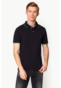 Lancerto - Koszulka Granatowa Polo Lucas Slim. Okazja: na co dzień. Typ kołnierza: polo. Kolor: niebieski. Materiał: tkanina, bawełna, jeans, materiał. Wzór: paski, ze splotem. Styl: klasyczny, casual