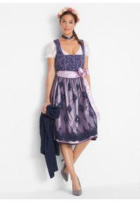 Niebieska sukienka bonprix na ramiączkach, elegancka, z nadrukiem