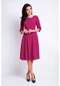 Awama - Bordowa Sukienka Rozkloszowana Midi z Asymetrycznym Dekoltem. Kolor: czerwony. Materiał: poliester, wiskoza, elastan. Typ sukienki: asymetryczne. Długość: midi