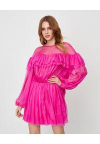 ICON - Jedwabna sukienka z falbaną Sunset. Kolor: różowy, fioletowy, wielokolorowy. Materiał: jedwab. Sezon: lato. Styl: wakacyjny